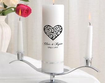 Personalized Wedding Unity Candle Set - Vintage Hearts_330