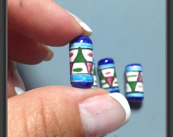 Ceramic hand painted beads from Peru