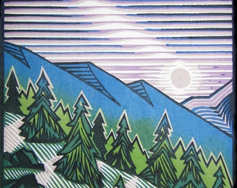 Original, hand pulled, moku hanga woodblock print, 'Moonrise'.