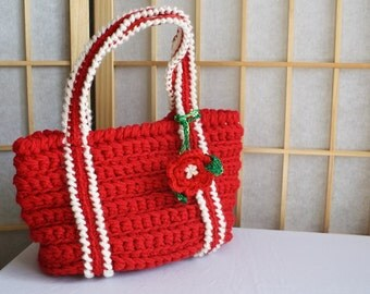 Hand Crocheted Bag Red with Camellia