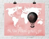 Oh The Places You'll Go, Dr Seuss, Nursery Wall Art, Classroom Decor, Graduation Gift, Travel Map, Instant Download- ADOPTION FUNDRAISER