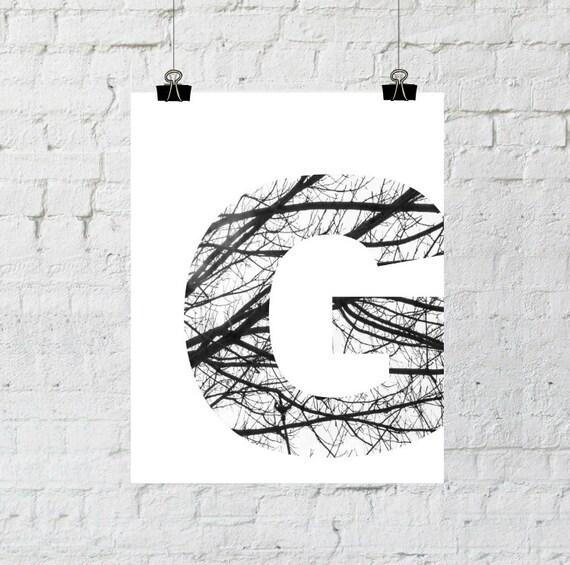 "Black & White Letter ""G"" Tree Branch Art Print. 8x10 Typographic Home Decor. Instant Digital Download Printable Wall Art-ADOPTION FUNDRAISER"