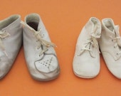 Ideal vintage leather high top baby shoes size 4W and 2M toddler white first shoes