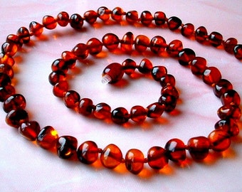 Baltic Amber Necklace Baroque Round Beads Genuine Baltic Amber