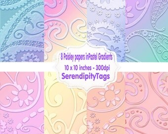 8 Paisley Gradient Pastel Papers. 10 x 10 inches - 300dpi