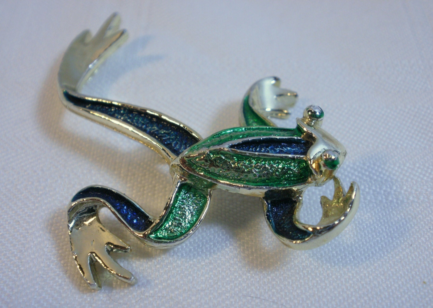 frog brooch gerry s jewelry company vintage 1970s green