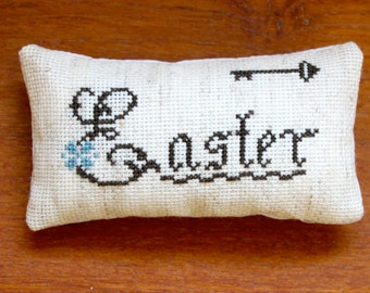 "Mini Primitive Cross Stitch Easter Pillow- 4 3/4"" x 2 1/2""- Ready to Ship"