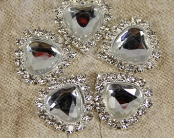 Clear stone Heart Rhinestone Buttons flatback or with a mounting shank on the back-- 5 pcs