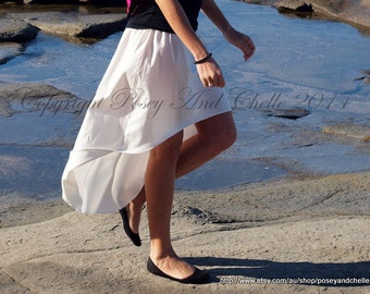 Organic Cotton High Low Skirt, 100% Organic Cotton, Summer Hi-Lo/ High-Lo/ Hi-Low White/Natural Colour Organic Skirt