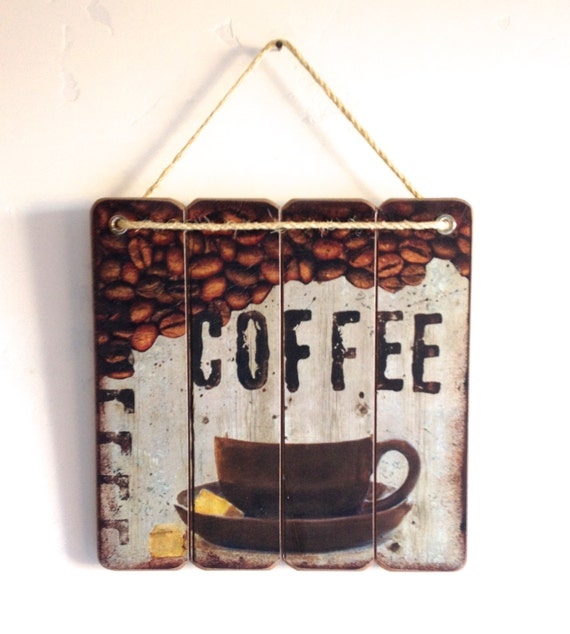 Coffee Shop Sign Wooden Cafe Wall Art Wood Plank Style With Rope