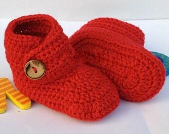 Red Crochet Baby Booties, Newborn Crochet Shoes, Boutique Booties, Baby Shoes, Crochet Booties, Baby Shoes