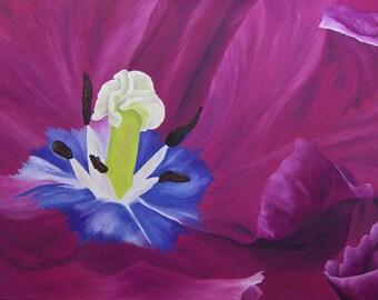 """Tulip Oil Painting, Flower Painting, Purple Tulip, Flower, Original Oil Painting, Artwork - """"Sumptuous Tulip"""" (24"""" x 48"""")"""