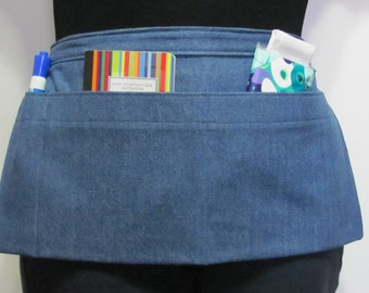 Waist Apron for Teachers, Vendors, Servers, Crafters, Gardeners Made From Blue Denim Fabric (3 Pockets)