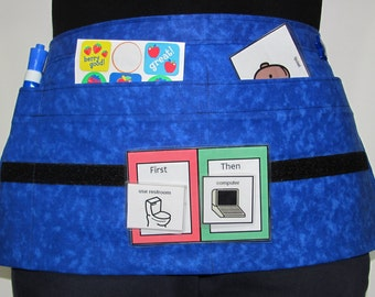 Waist Apron for Special Education Teachers with Hook/Loop Fastener Strip on Midnight Blue Fabric (3 Pockets)