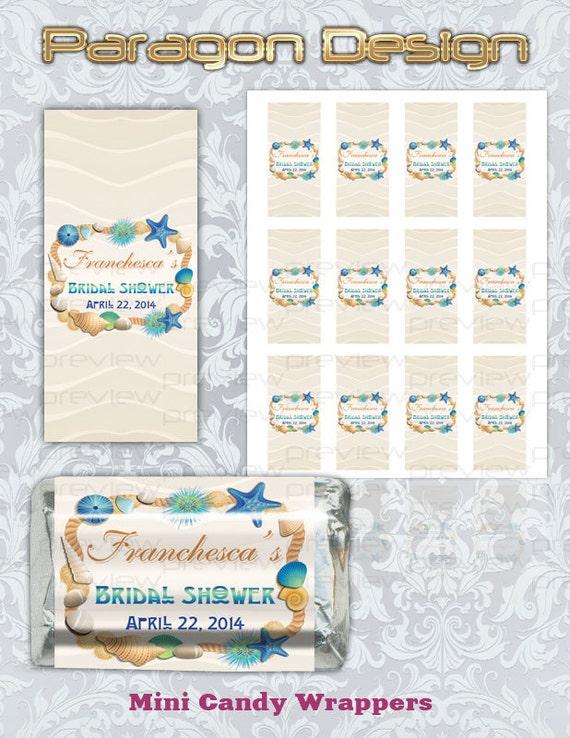 Beach Theme - Custom Bridal Shower Mini Candy Wrappers - Printable Digital File