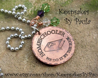 Handcrafted Homeschool Necklace ~ Homeschooler ~  We Do It By The Book