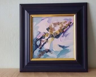 Oil picture on hardboard, Winter Wonderland, blue PVC frame