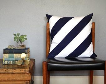 Navy and White Diagonal Stripe Pieced Pillow