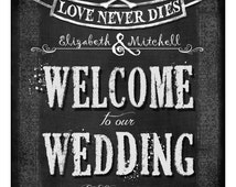 Personalized WELCOME to our Wedding diy printable - Love Never Dies Halloween Wedding Collection