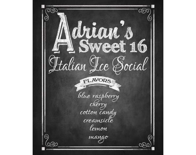 Printable Italian Ice Social Chalkboard Sign - PERSONALIZED - 5x7, 8x10 or 11 x 14  - DIY - Customized with your name(s) and flavors