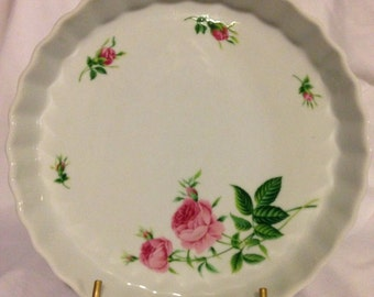 Vintage Pink Rose Quiche Dish by Christineholm 9-1/2""