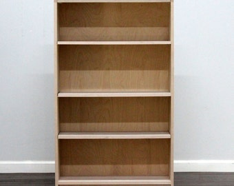 Birch Bookcase with three adjustable shelves, wide.