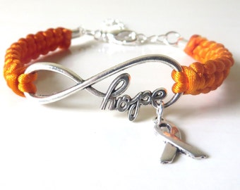 Orange Awareness Ribbon HOPE Charm Bracelet with Optional Hand Stamped Letter Initial Charm