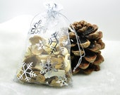 100 4x6 organza bags snowflake Christmas gift bags drawstring party favor bags wedding baby shower stain jewelry pouch Sheer Fabric Bags