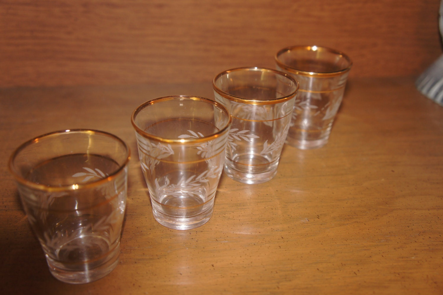 Set Vintage Italian Gold Rimmed And Etched Shot Glasses