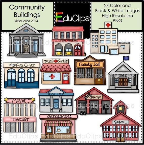 Community Buildings Clip Art Bundle