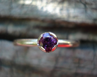SPINEL engagement ring, Pink purple spinel ring, pink spinel gold ring, purple spinel ring, spinel stacking ring, ExquisiteGem
