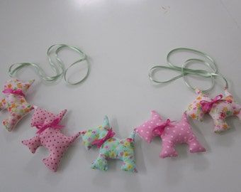 Scottie Dog fabric baby garland