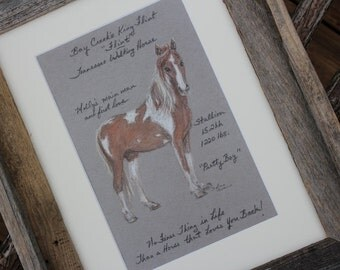 Custom Horse Sketch with mat and barnwood frame