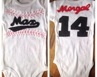Custom baseball jersey onesie