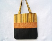 Yellow Striped Tote Bag, Patchwork Purse, Fabric Tote Bag, Fabric Purse, Handmade Handbag