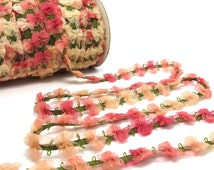 2 Yards Woven Rococo Ribbon Trim with Fuchsia Nude Chiffon Flower|Decorative Floral Ribbon|Scrapbooking|Clothing|Decor|Craft Supplies