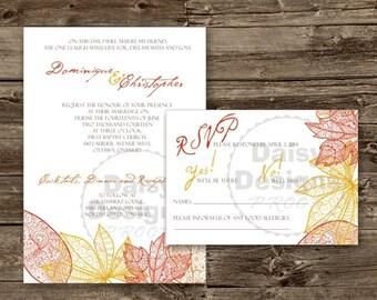 Fall Leaves Boho Wedding Invitation
