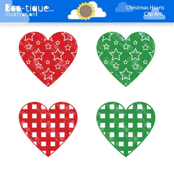Christmas hearts clipart for instant download