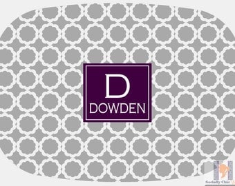 Modern gray & purple quatrefoil flower monogrammed platter or tray.  The perfect gift- entertain with style! Dishwasher safe! Custom gifts!!