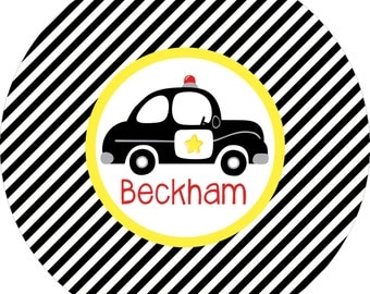 Boys police car black and white monogrammed plate.   A custom, fun and UNIQUE birthday gift idea! Kids love eating on personalized plates!