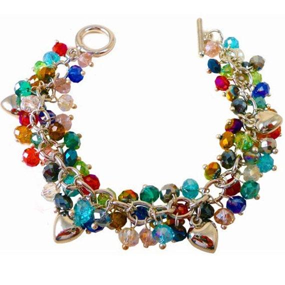 rainbow charm bracelet with silver hearts