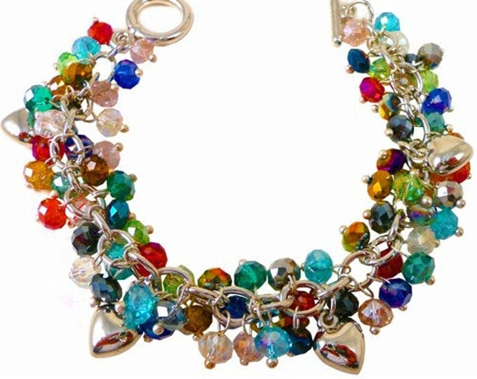 Rainbow Crystal Charm Bracelet with silver hearts