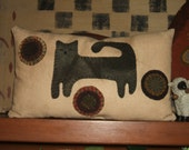 Primitive Cat Pillow, Applique, OOAK, Wool Pillow