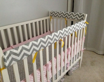 Crib Rail Teething Guard - Grey & White Chevron