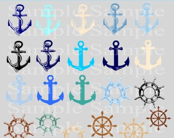 Nautical Clipart clip art, Instant Download Anchor Clipart clip art Helm Clipart Sailor Clipart Seaside Clipart - Commerical and Personal