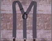 Boys Grey Suspenders, Toddler Suspenders, Baby Suspenders