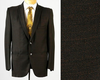 Vintage 60s Mens Sharkskin Jacket Blazer Brown Green 2 Button Slim Lapel 40 40S