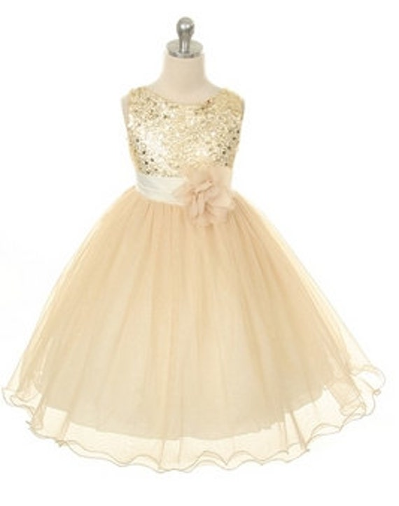 Flower Girl  Dress Gold Sequin Double Mesh Special Occasion Wedding, Bridemaid Dress Size 2T -14