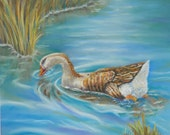 Gracefully Swimming Goose Original Pastel Painting