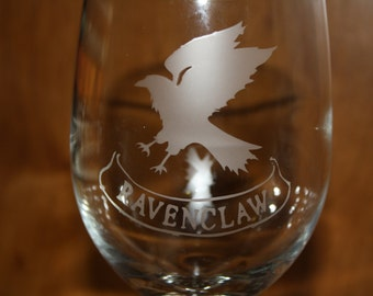Etched Harry Potter Inspired Ravenclaw Glass